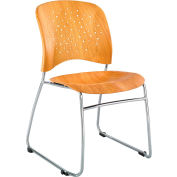 Safco® Reve™ Plastic Guest Stacking Chair with Sled Base - Natural - Pack of 2