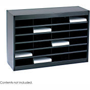 24 Compartment Steel Literature Organizer - Black