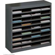 36 Compartment Steel Literature Organizer - Black