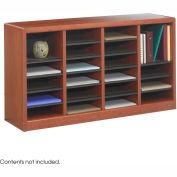 24 Compartment Wooden Literature Organizer - Cherry
