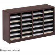 24 Compartment Wooden Literature Organizer - Mahogany