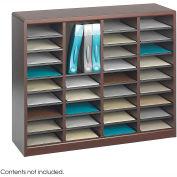 36 Compartment Wooden Literature Organizer - Mahogany