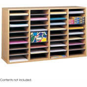 Wood Adjustable Literature Organizer, 36 Compartment