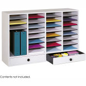 32 Compartment Adjustable Literature Organizer w/ Drawer - Gray