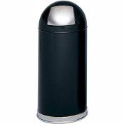 Safco® Push Door Dome Top Receptacles 15 Gallon Black - 9636BL