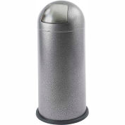 Safco® Black Speckle Push Top Dome Receptacle, 15 Gallon - 9675NC