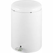Safco® Round Step-On Receptacle, 4 Gallon White- 9681WH