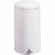 Safco® Round Step-On Receptacle, 7 Gallon White - 9683WH