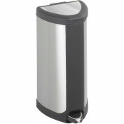 Safco® Step-On 4 Gallon Stainless Receptacle, Stainless Steel - 9685SS