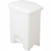 Safco® Plastic Step-On Receptacle, 4 Gallon White - 9710WH