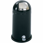 Step-On Dome Receptacle - 9 Gallon, Black