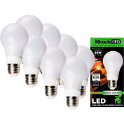 MiracleLED 604796 Un-Edison Frosted Daylight Bulb, A19, 7W, Package of 8