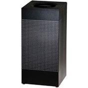 Rubbermaid® Silhouette SC14E Square Open Top Receptacle w/Plastic Liner, 16 Gallon - Black