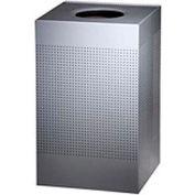 Rubbermaid® Silhouette SC18E Square Open Top Receptacle w/Liner, 20 Gallon - Silver Metallic