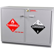 Acid (24x2.5 Liter)/Flammable (24x1 Gal.) Cabinet, Partially Lined, Manual Close, 47 x 22 x 35-1/2