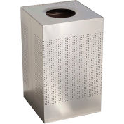 Rubbermaid® Silhouette SC22 Square Open Top Receptacle, 50 Gallon - Stainless Steel