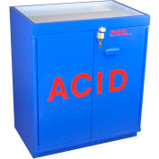 "30x2.5 Liter, Floor Corrosive Cabinet, Partially Lined, Top Tray, 31""W x 20""D x 36-5/8""H"