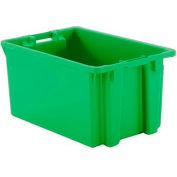 "Schaefer Stack & Nest Tote FB603 - 23""L x 15""W x 12""H - Open Handles - Green - Pkg Qty 15"