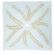 Satco 50-192 Bend Glass - 13-in. Square  White - Gold