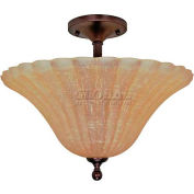 """Nuvo 60/012 Moulan 3 Light-Ceiling-Semi Flush W/Champagne Washed Linen Glass, 16""""W X 13.25""""H"""