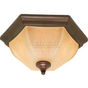 "Nuvo 60/056 Normandy-2 Light Ceiling-Flush Mount W/Champagne Washed Linen Glass, 15.5""W X 7.25""H"