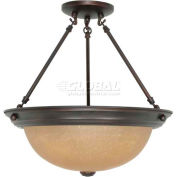 """Nuvo 60/1261, 3 Light-Ceiling-Semi Flush, Champagne Washed Linen, Mahogany Bronze, 15.25""""W X 15.5""""H"""