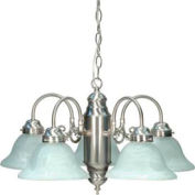 Satco 60/1290 5 Light Chandelier w/ Alabaster Glass  Brushed Nickel