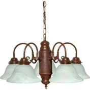 Satco 60-1291 5 Light Chandelier w/ Alabaster Glass  Old Bronze