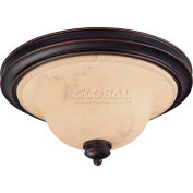 """Nuvo 60/1407 Anastasia-2 Light Ceiling-Flush Dome, Honey Marble, Copper Espresso, 15""""W X 7.25""""H"""