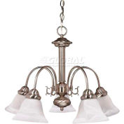 "Satco 60-181 Ballerina 5 Light 24"" Chandelier w/ Alabaster Glass Bell Shades  Brushed Nickel"