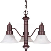 "Satco 60-192 Gotham 3 Light 23"" Chandelier w/ Alabaster Glass Bell Shades  Old Bronze"