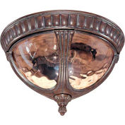 "Nuvo 60/2007 Beaumont-2 Light Ceiling-Flush Dome, Amber Water, Fruitwood, 13""W X 8.25""H"