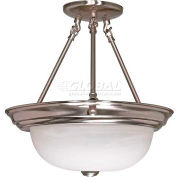 """Nuvo 60/202, 3 Light-Ceiling-Semi Flush, Alabaster Glass, Brushed Nickel, 15.25""""W X 15.5""""H"""