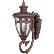 "Nuvo 60/2045 Philippe-1 Light-Wall Lantern, Arm Up W/Seeded Glass, Belgium Bronze, 6.875""W X 16""H"