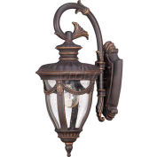 "Nuvo 60/2046 Philippe-1 Light Wall Lantern, Arm Down W/Seeded Glass, Belgium Bronze, 6.875""W X 16""H"