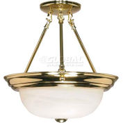 "Nuvo 60/217, 2 Light-Ceiling-Semi Flush, Alabaster, Polished Brass, 13.25""W X 14""H"