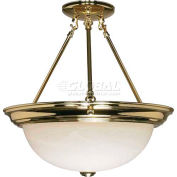 "Nuvo 60/218, 3 Light-Ceiling-Semi Flush, Alabaster Glass, Polished Brass, 15.25""W X 15.5""H"