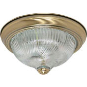 "Nuvo 60/229, 2 Light-Ceiling-Flush Mount, Clear Swirl, Antique Brass, 11.375""W X 4.875""H"