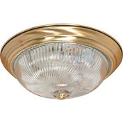 "Nuvo 60/231, 3 Light-Ceiling-Flush Mount, Clear Swirl, Antique Brass, 15.25""W X 5.75""H"