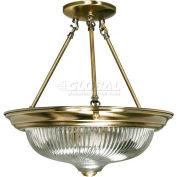 "Nuvo 60/234, 3 Light- Ceiling-Semi Flush, Clear Swirl, Antique Brass, 15.25""W X 15.5""H"