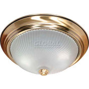 "Nuvo 60/238, 2 Light-Ceiling-Flush Mount, Frosted Swirl, Antique Brass, 13.125""W X 5.375""H"