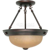 """Nuvo 60/3108, 2 Light-Ceiling-Semi Flush, Champagne Washed Linen, 11.375""""W X 12""""H"""