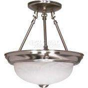 "Nuvo 60/3184, 2 Light-Ceiling-Semi Flush, Alabaster, Brushed Nickel, 11.375""W X 12""H"