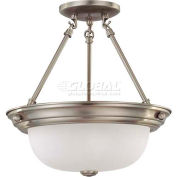 "Nuvo 60/3245, 2 Light-Ceiling-Semi Flush, Frosted White, Brushed Nickel, 13.25""W X 14""H"