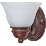 """Satco 60-344 Empire 1 Light - 7"""" - Vanity w/ Alabaster Glass Bell Shades  Old Bronze"""