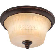 """Nuvo 60/4252 Franklin-3 Light Ceiling-Flush Dome Fixt., Sienna, Georgetown Bronze, 15""""W X 8.25""""H"""
