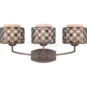 "Nuvo 60/4563 Margaux-3 Light Vanity Fixt., Chestnut Glass, Patina Bronze, 24.625""W X 10.875""H"