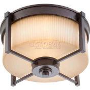 "Nuvo 60/4611 Wright-2 Light Ceiling-Medium Flush Fixt., Amaretto Glass, 15.375X 8""H"