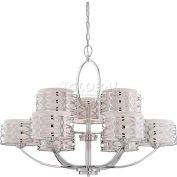 "Nuvo 60/4630 Harlow 9 Light Chandelier, Slate Gray Fabric Shades, 38X 29.25""H"