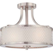 """Nuvo 60/4692 Fusion-3 Light Ceiling-Semi Flush Fixt., Frosted, Brushed Nickel, 13.75""""W X 12""""H"""